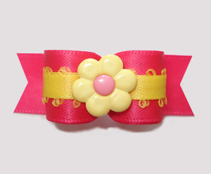 "#2814 - 5/8"" Dog Bow - A Pop Of Pink, Yellow/Pink Daisy"
