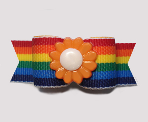 "#2815 - 5/8"" Dog Bow - Colorful Rainbow Stripes, Orange Flower"