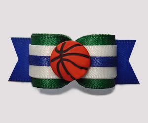 "#2817 - 5/8"" Dog Bow - Play Ball! Basketball, Green/Blue"