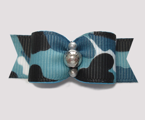 "#2818 - 5/8"" Dog Bow - Camouflage Print, Blue/Black with Silver"