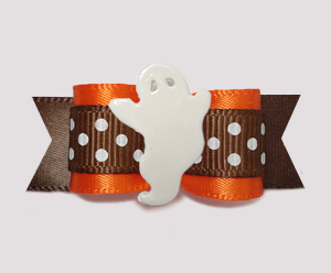 "#2822 - 5/8"" Dog Bow - Cute Halloween/Autumn Ghost, Orange/Brown"