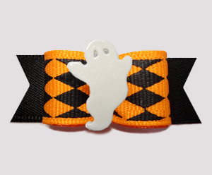 "#2824 - 5/8"" Dog Bow - Halloween Jester, Orange/Black, Ghost"