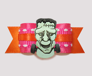 "#2827 - 5/8"" Dog Bow - Fabulous Frankenstein, Hot Pink/Orange"