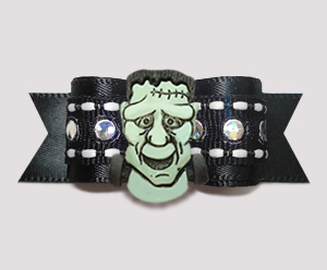 "#2828 - 5/8"" Dog Bow - Frightening Frankenstein on Black Satin"