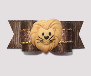 "#2830 - 5/8"" Dog Bow - Roarin' To Go! Lovely Lion, Brown/Gold"