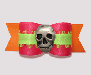 "#2831 - 5/8"" Dog Bow- Beautiful Brights, Pink/Orange/Lime, Skull"