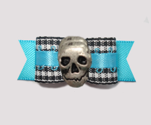 "#2835 - 5/8"" Dog Bow - Classic B/W Gingham on Blue with Skull"