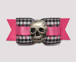 "#2836 - 5/8"" Dog Bow- Classic B/W Gingham on Hot Pink with Skull"
