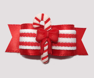 "#2837 - 5/8"" Dog Bow - Sweet Candy Cane Delight, Red Satin"