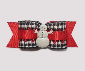 "#2839 - 5/8"" Dog Bow - Classic B/W Gingham on Red, Snowman"