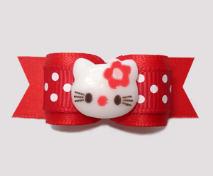 "#2843 - 5/8"" Dog Bow - Red Sweetheart Dots, Little Kitty"