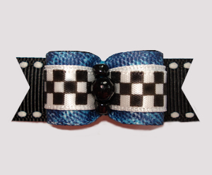 "#2845 - 5/8"" Dog Bow - Cool Racetrack Denim"