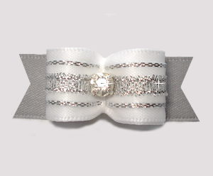 "#2846 - 5/8"" Dog Bow- Gorgeous Sparkle, White/Silver, Rhinestone"