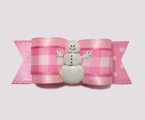 "#2847 - 5/8"" Dog Bow - Adorable Pink Gingham 'n Dots, Snowman"