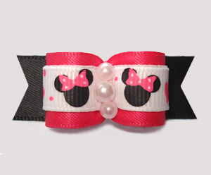 "#2851 - 5/8"" Dog Bow - Minnie Mouse Cutie, Hot Pink/Black"