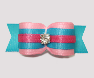"#2853 - 5/8"" Dog Bow - Sweet Cotton Candy Pink/Blue w/Rhinestone"