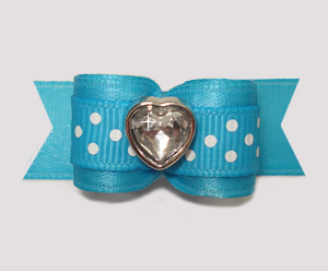 "#2856 - 5/8"" Dog Bow - Sweet Dots, Electric Blue, Bling Heart"
