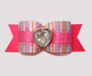 "#2857- 5/8"" Dog Bow - Cotton Candy Stripes/Hot Pink, Bling Heart"