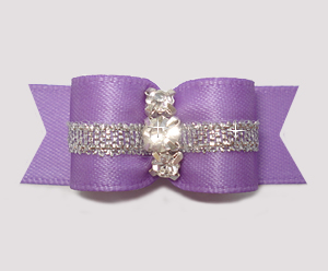 "#2858 - 5/8"" Dog Bow - Lovely Lavender w/Silver, 3 Rhinestones"