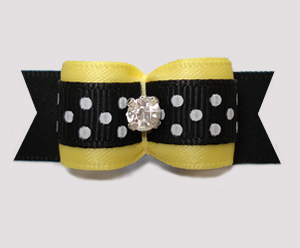 "#2865- 5/8"" Dog Bow - Bumblebee Yellow with B/W Dots, Rhinestone"