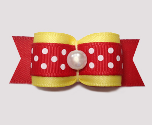 "#2866 - 5/8"" Dog Bow - Sunny Yellow and Red with Cute White Dots"