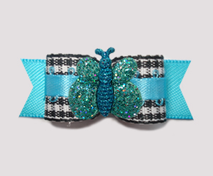 "#2871- 5/8"" Dog Bow- B/W Gingham on Blue, Sparkle Butterfly"