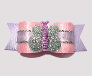 "#2877 - 5/8"" Dog Bow - Pretty as a Princess, Sparkle Butterfly"