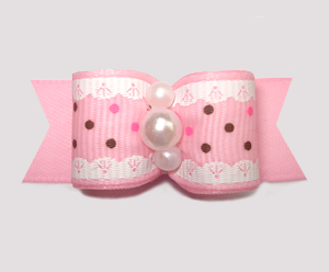 "#2881 - 5/8"" Dog Bow - Ruffles 'n Dots, Soft Pink"