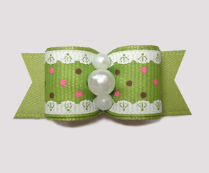 "#2884 - 5/8"" Dog Bow - Ruffles 'n Dots, Green"