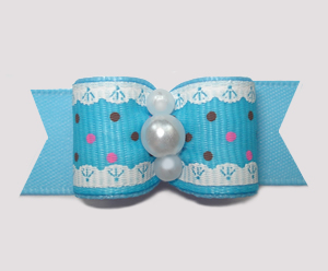 "#2885 - 5/8"" Dog Bow - Ruffles 'n Dots, Blue"