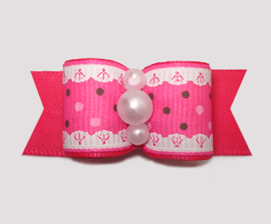 "#2886 - 5/8"" Dog Bow - Ruffles 'n Dots, Hot Pink"