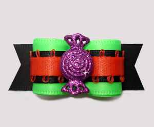 "#2894 - 5/8"" Dog Bow - Sweet Treat, Purple Glitter Candy"