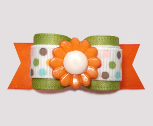"#2898 - 5/8"" Dog Bow - Autumn Sage/Orange, Dots 'n Daisy"