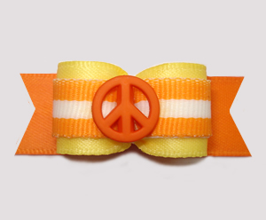 "#2900 - 5/8"" Dog Bow - Peace Out! Cheery Yellow/Orange w/Stripe"