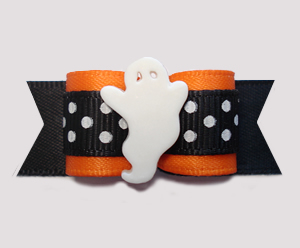 "#2901 - 5/8"" Dog Bow - Boo-tiful Ghost, Orange/Black w/Dots"