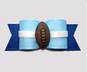 "#2902 - 5/8"" Dog Bow - Football, Light Blue/Dark Blue"