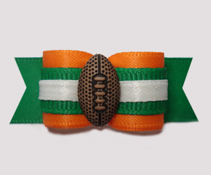 "#2906 - 5/8"" Dog Bow - Football, Orange & Green"