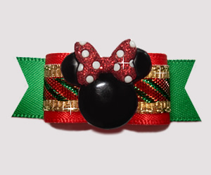 "#2910 - 5/8"" Dog Bow - Candy Cane Sparkle with Minnie Mouse"