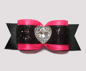 #2911- 5/8 Dog Bow- Stunning Hot Pink/Black Glitter, Bling Heart