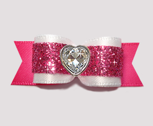 "#2915 - 5/8"" Dog Bow - Girly White & Pink Glitter, Bling Heart"