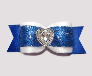 "#2917 - 5/8"" Dog Bow - Classic White & Blue Glitter, Bling Heart"