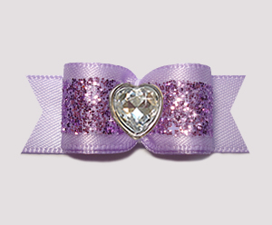 "#2919 - 5/8"" Dog Bow - Gorgeous Glitter, Lavender, Bling Heart"