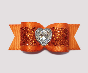 "#2921 - 5/8"" Dog Bow - Gorgeous Glitter, Orange, Bling Heart"