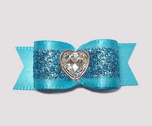 #2922- 5/8 Dog Bow- Gorgeous Glitter, Electric Blue, Bling Heart