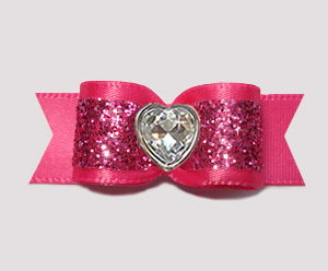"#2923 - 5/8"" Dog Bow - Gorgeous Glitter, Hot Pink, Bling Heart"