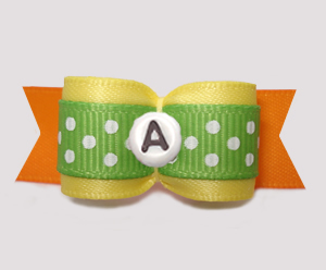 "#2932 - 5/8"" Dog Bow - Yellow/Green/Orange w/Dots, Choose Letter"