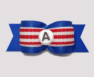 "#2934 - 5/8"" Dog Bow - Classic Stripes, Blue/Red - Choose Letter"