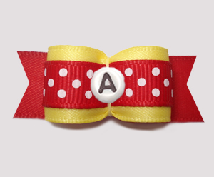 "#2936 - 5/8"" Dog Bow - Sunny Yellow/Red w/Dots. Choose Letter"