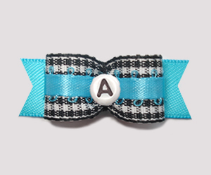 "#2941 - 5/8"" Dog Bow - B/W Gingham w/Blue - Choose Your Letter"