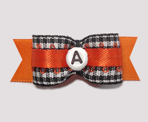 "#2943 - 5/8"" Dog Bow - B/W Gingham w/Orange - Choose Your Letter"